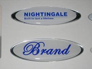Blue Brand Epoxy Resin Stickers in High Light Scutcheon